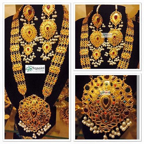 Naurattan Rani 22k Goldplated Handcrafted Bridal Mala Set.