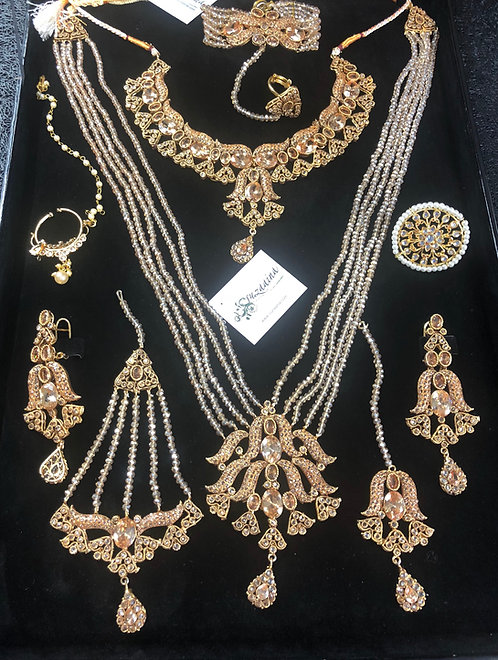 Jaan-e-Aalam 22k Gold Plated Bridal Set in Dimond cut Polki.