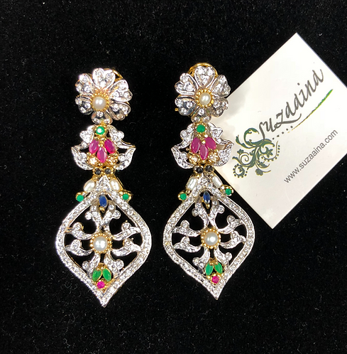 Zarmeen Rhodium plated Earrings
