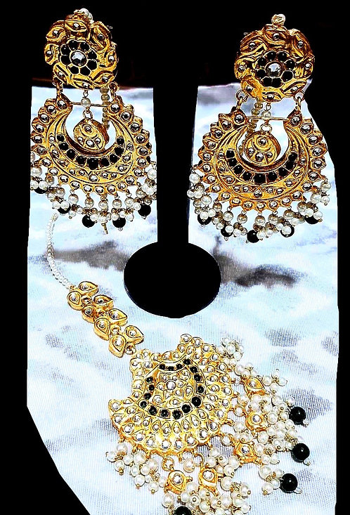 Muzna 22k Gold plated Handcrafted Earrings Tikka Set.