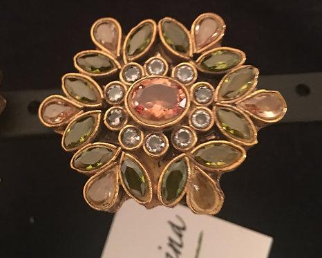 22k Gold plated kundan ring