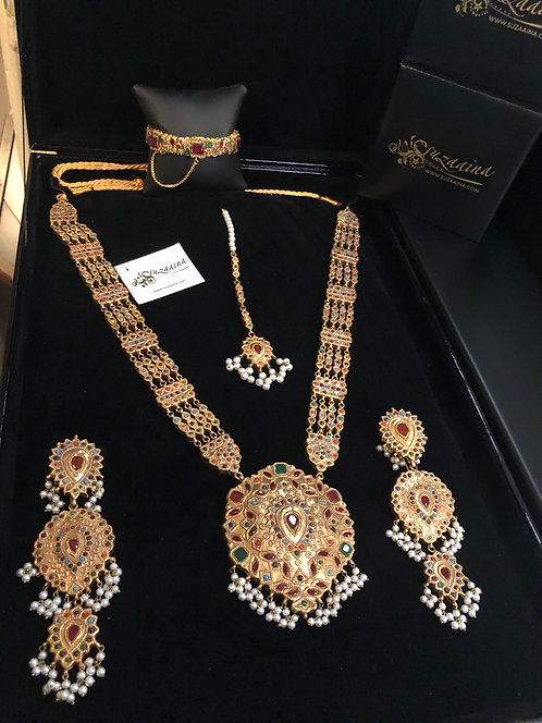 Naurattan Rani 22k Goldplated Handcrafted Bridal Mala Set.
