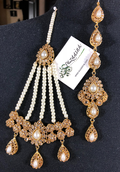 Subhani 22k Gold Plated Tikka and Jhumer Set.