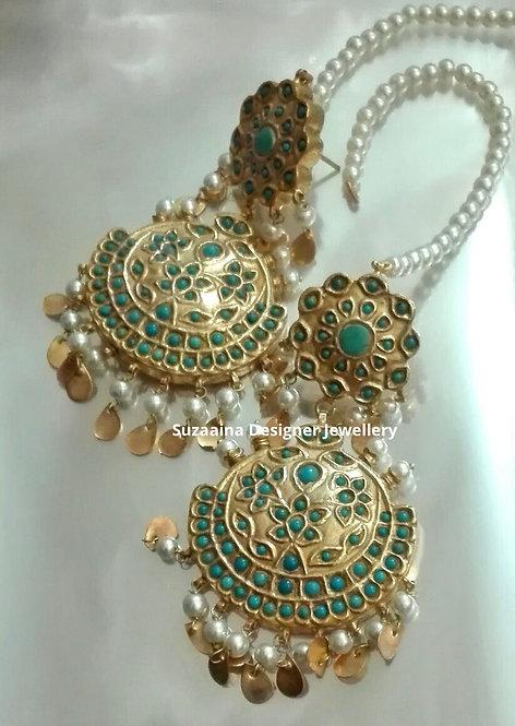 Fosil 22k Gold plated Handcrafted Kundan Earrings.