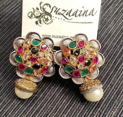 Sufya 22k Gold plated Multi stones Handcrafted Earrings.