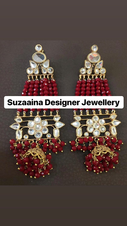 Ujala 22k Gold plated Handcrafted Kundan Earrings .