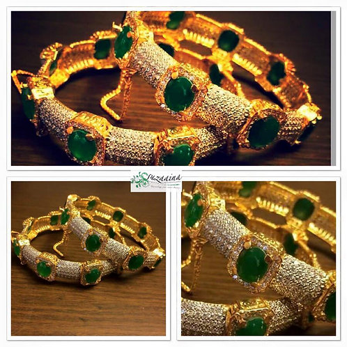 Gold plated square stones bangle.  (All sizes)