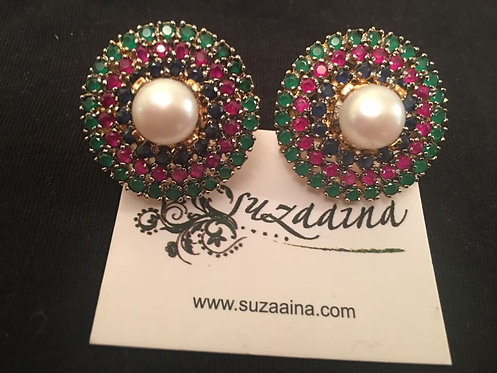Roma 22k Gold plated Pearl, Ruby and Sapphire stone Earrings