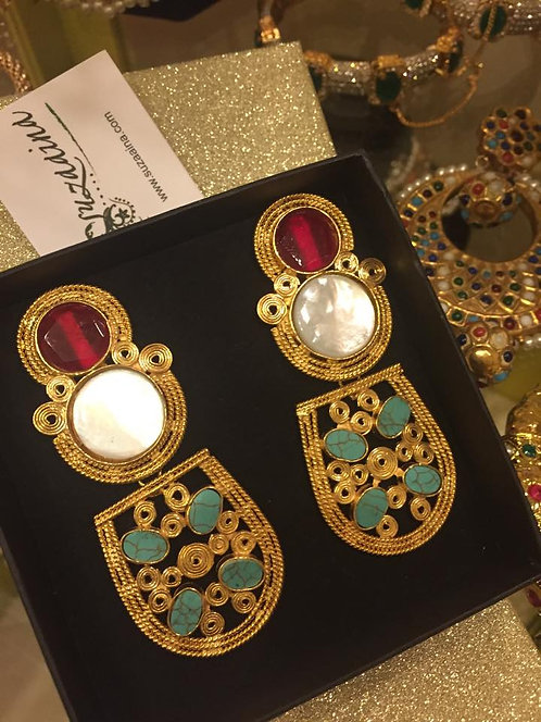 Suhan 22k Gold plated Handcrafted Multi stones Dangler