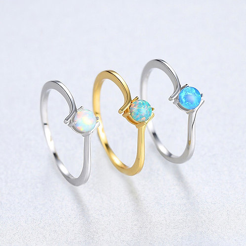 Aza 925 Sterling Silver With Opal Ring.