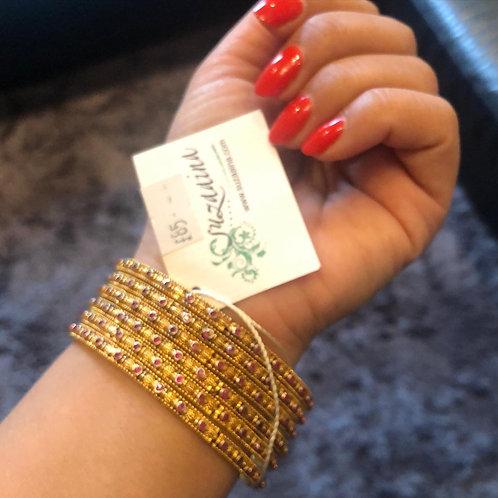 Areeb 22k Gold plated set of 6 Bangles.
