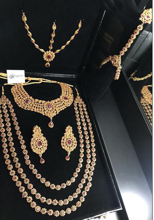 Hiba 22k Gold plated Diamond polki Bridal Set.