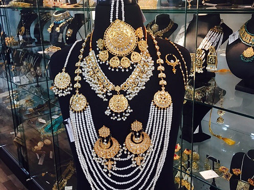 Fatima 22k Gold plated Kundan and Pearls Royal Bridal Set