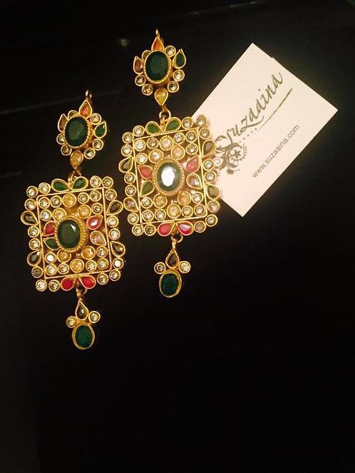 Jurhao 22 Gold plated Handcrafted Kundan Earrings