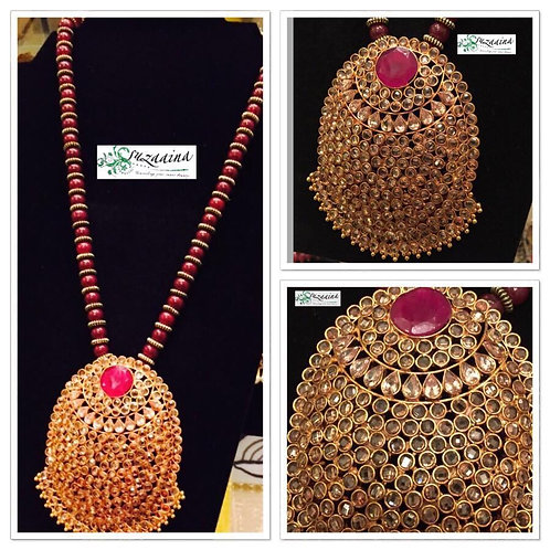 Shella Gold plated rubies, emerald and kundan mala