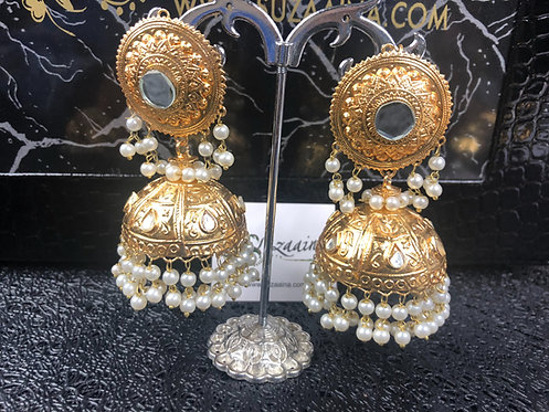 Dania 22k Gold plated Kundan Big Jhumkey
