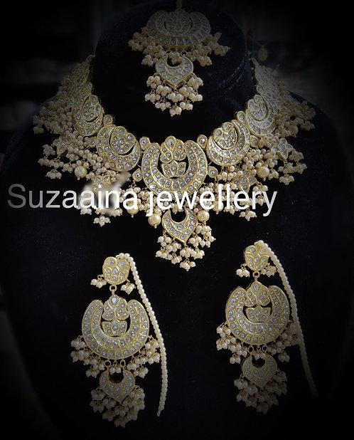 Norre 22k Gold plated Handcrafted Kundan Bridal Set.