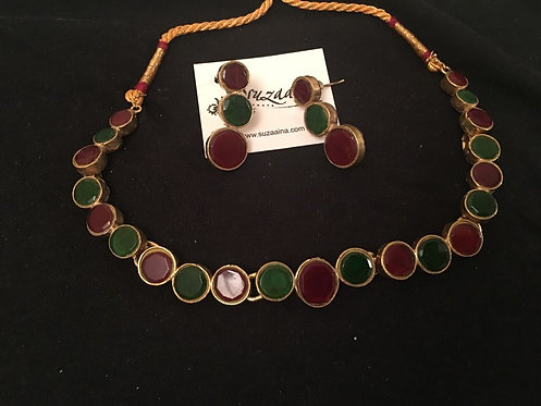 Zuby Gold plated Kundan Necklace Emerald & Ruby Set