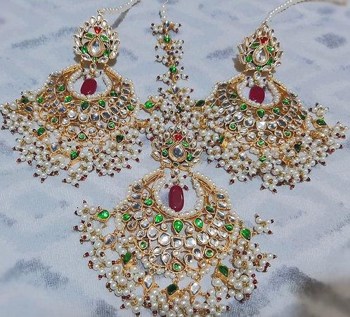 Maliha 22k Gold plated Handcrafted Kundan Set.