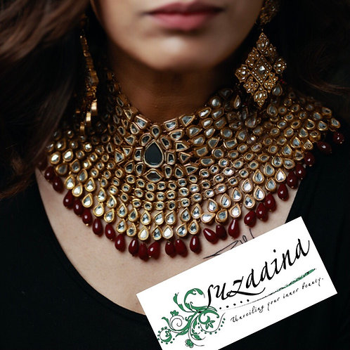Royal Ruby 24k Gold plated Handcrafted Grand Choker Set