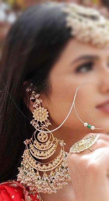 Hamila 22k Gold plated Handcrafted Kundan and Pearls Earrings .