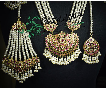 Dulhania 24k Gold plated Jhumer and Tikka Set.
