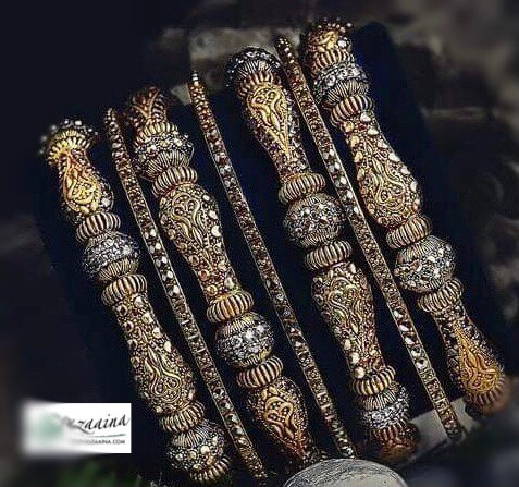 Janaq 22k Gold and Rhodium plated Set of Bangles