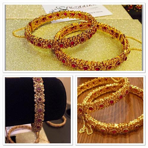Zoyal 22k Gold plated Handcrafted Diamond polki Bangle.