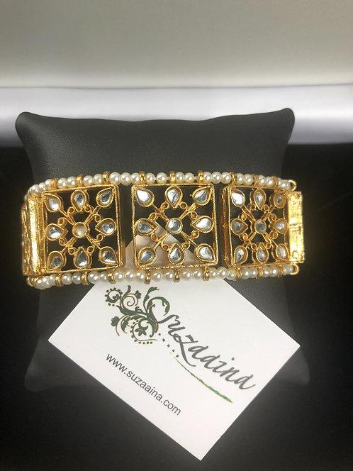 Sariha 22K Gold plated Handcrafted Kundan Bracelet.