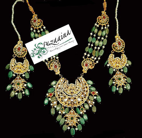 Shahal 22k Gold plated Handcrafted Kundan Set.
