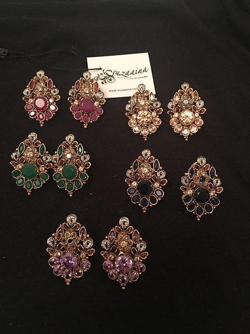 Phulkari Studs 22k Gold plated Handcrafted Earrings.