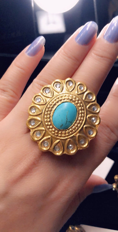 Mehr 22k Gold plated Kundan Ring (Adjustable size)
