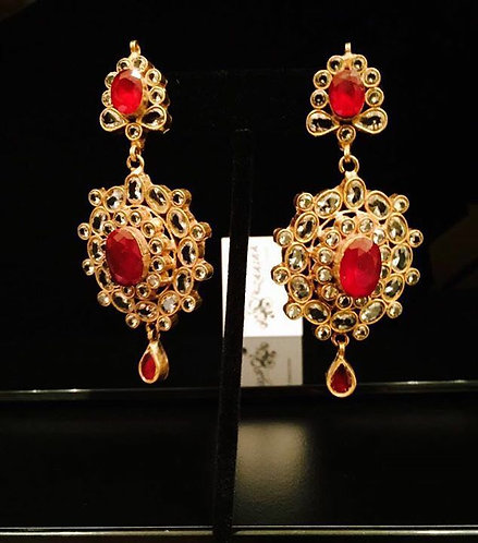 Royal Gold plated Handcrafted Kundan Earrings