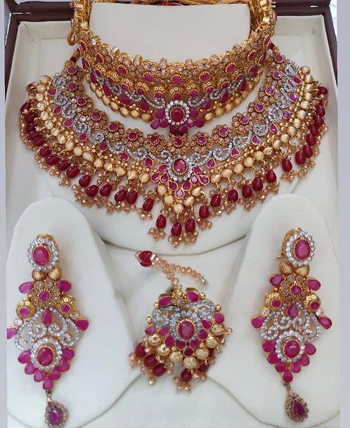 Anarkali 22k Gold played Bridal Set.
