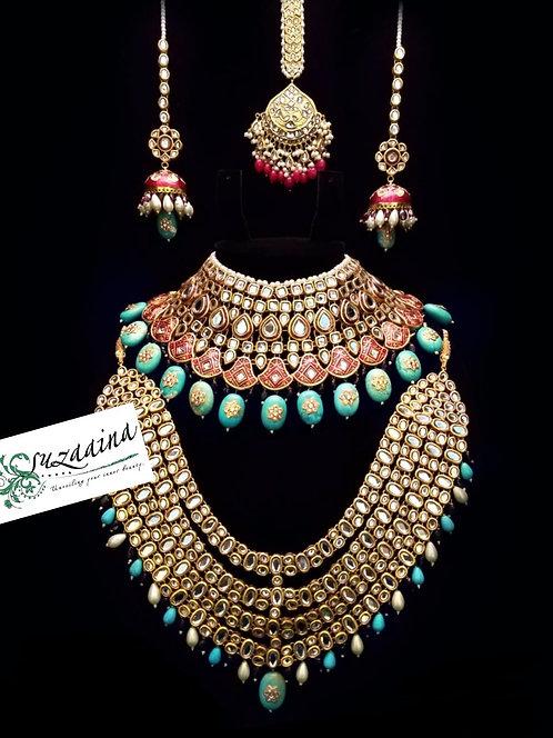 Rabayl 22k Gold plated Handcrafted Thappa Kundan Grand Bridal Set.
