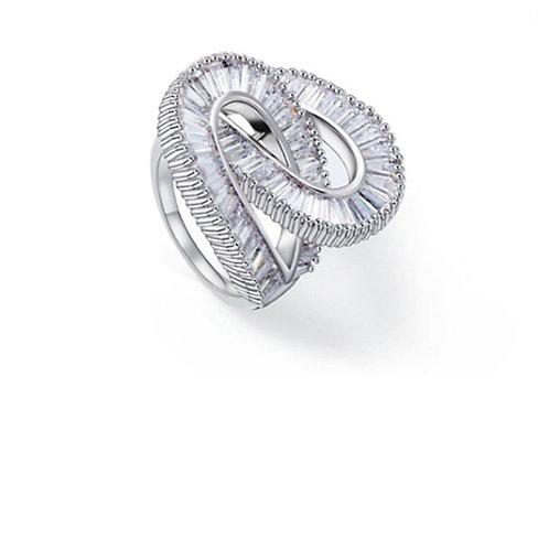 Kalis Platinum plated Cubic Zirconia Luxury Band Ring.