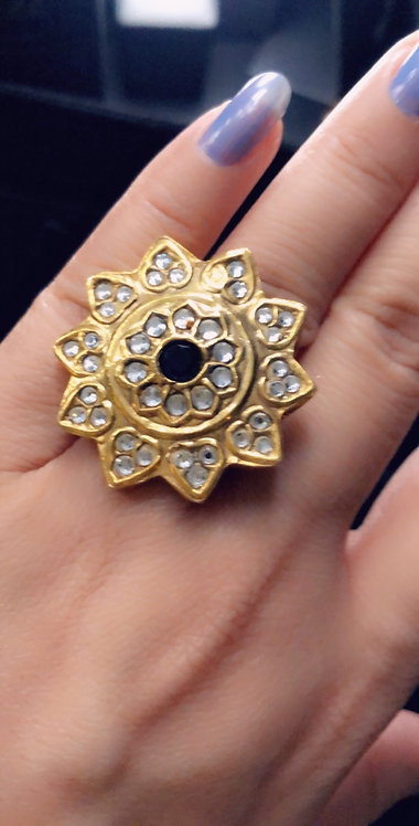 Baile 22k Gold plated Kundan Ring (Adjustable size)