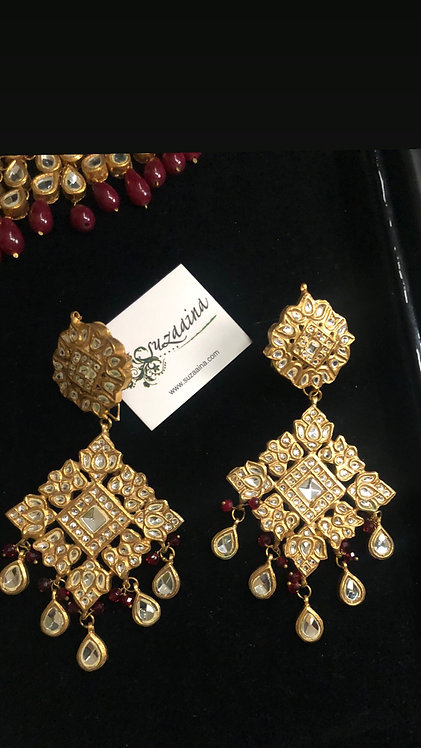 Royal  24K Gold plated Handcrafted Ghutka Kundan Earrings .