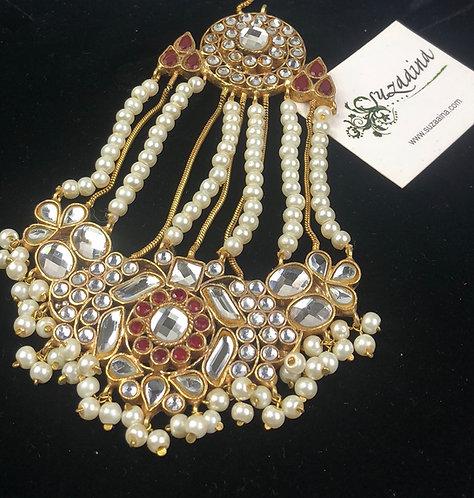 Aleesha 22k Gold plated Handcrafted Thappa Kundan Jhumar