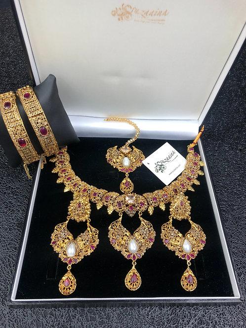 Minal 22k Gold plated Bridal Set.