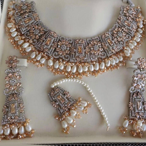 Mujahida Rhodium and 24k gold plated Bridal Set.