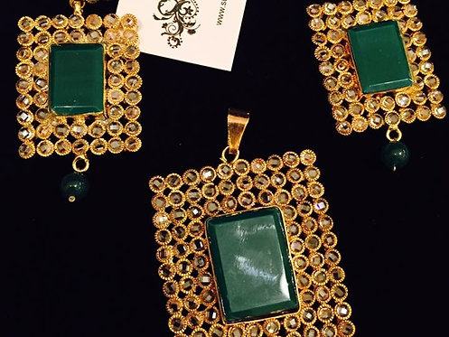 Sassis 24k Gold plated Handcrafted Emerald Pendant Set
