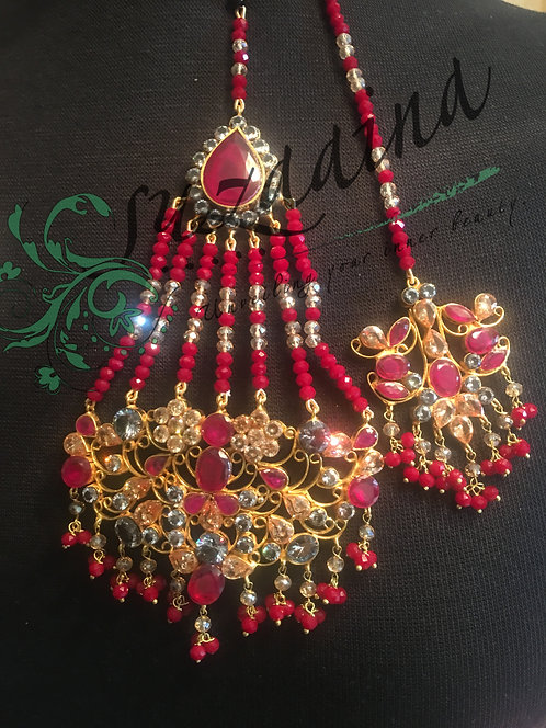 Momil 24k Gold Plated Jhumar and Tikka Set
