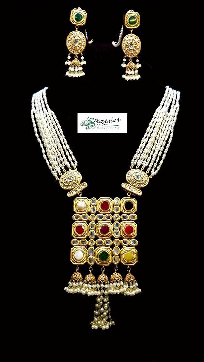 Laiza 24k Gold Plated Kundan and Pearls Mala.