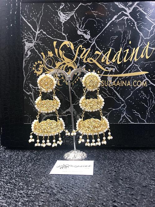 Zeenat 22k Gold plated Kundan Magar/ Earrings.