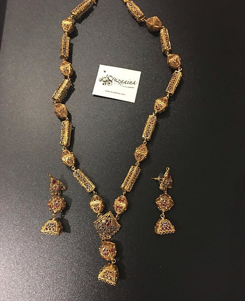 Aalaish 24k Gold plated handcrafted rubies stones Mala Set.