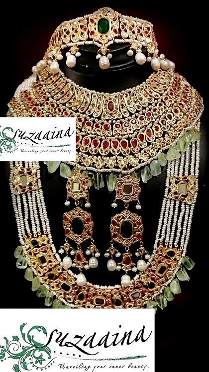 Uroosi 22k Gold plated Handcrafted Grand Bridal Set.