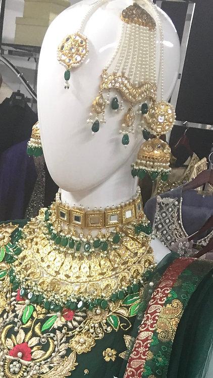 Mahrukh 22k Gold plated Handcrafted Jhumer Tikka Set.