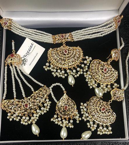 Dulhan 24k Gold plated 5 pieces Choker Bridal Set.
