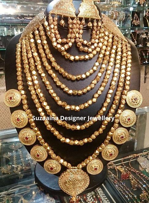 Rani Tulsi b 22k Gold plated Handcrafted Mala Set.